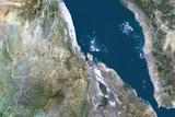 Eritrea, True Colour Satellite Image with Border Fotografisk tryk