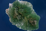 Satellite Image of Piton De La Fournaise, Reunion Island, French Oversea Photographic Print
