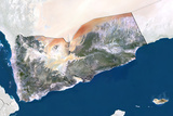 Yemen, True Colour Satellite Image with Border and Mask Photographic Print