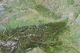 Austria, Satellite Image with Bump Effect, with Border Photographic Print