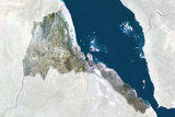 Eritrea, True Colour Satellite Image with Border and Mask Photographic Print