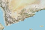 Yemen, Relief Map with Border Photographic Print