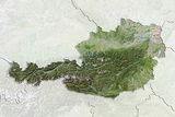 Austria, Satellite Image with Bump Effect, with Border and Mask Photographic Print