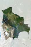 Bolivia, True Colour Satellite Image with Border and Mask Photographic Print