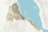 Eritrea, Relief Map with Border and Mask Photographic Print
