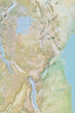 Tanzania, Relief Map with Border Fotografisk tryk