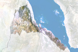 Eritrea, Satellite Image with Bump Effect, with Border and Mask Fotografisk tryk
