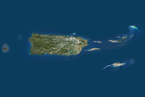 Satellite Image of Puerto Rico and the Virgin Islands Photographic Print