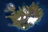 Satellite Image of Iceland, True Colour Satellite Image. Iceland Photographic Print