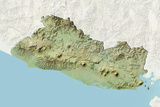 El Salvador, Relief Map with Border and Mask Photographic Print