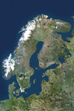 Satellite Image of Scandinavia Photographic Print