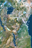 Tanzania, True Colour Satellite Image with Border Photographic Print