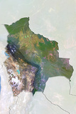 Bolivia, Satellite Image with Bump Effect, with Border and Mask Photographic Print