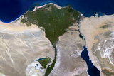 Satellite Image of Nile Delta, Egypt Photographic Print