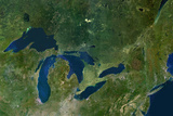 Satellite Image of Great Lakes, USA and Canada Photographic Print
