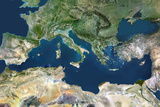 Satellite Image of Mediterranean Sea and Region Fotografisk tryk