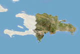 Dominican Republic, Satellite Image with Bump Effect, with Border and Mask Photographic Print