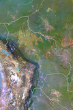 Bolivia, Satellite Image with Bump Effect, with Border Photographic Print