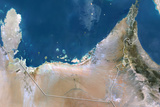 United Arab Emirates, True Colour Satellite Image with Border Photographic Print