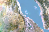 Eritrea, Satellite Image with Bump Effect, with Border Fotografisk tryk