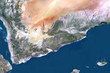 Yemen, True Colour Satellite Image with Border Photographic Print