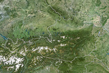 Austria, True Colour Satellite Image with Border Photographic Print
