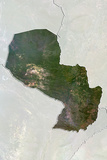 Paraguay, True Colour Satellite Image with Border and Mask Photographic Print