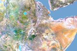 Ethiopia, Satellite Image with Bump Effect, with Border Photographic Print