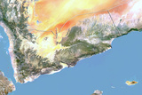 Yemen, Satellite Image with Bump Effect, with Border Photographic Print
