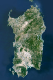 Satellite Image of Sardinia, Italy Photographic Print
