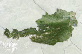 Austria, True Colour Satellite Image with Border and Mask Photographic Print