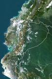 Ecuador, True Colour Satellite Image with Border Photographic Print