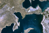 Satellite Image of Aral Sea, Kazakhstan and Uzbekistan, 1989 Photographic Print