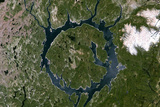 Satellite Image of Manicouagan Crater, Quebec, Canada Photographic Print