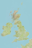 British Isles, Relief Map with Border Photographic Print