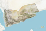 Yemen, Relief Map with Border and Mask Photographic Print