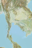 Thailand, Relief Map with Border Photographic Print