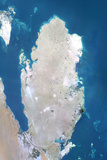 Qatar, True Colour Satellite Image with Border Photographic Print
