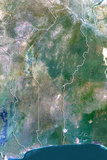 Benin, True Colour Satellite Image with Border Photographic Print