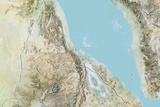 Eritrea, Relief Map with Border Photographic Print