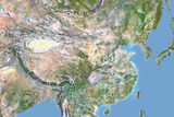 China, Satellite Image with Bump Effect, with Border Photographic Print