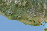 El Salvador, Satellite Image with Bump Effect, with Border Photographic Print