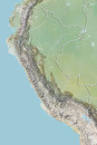 Peru, Relief Map with Border Photographic Print