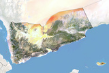 Yemen, Satellite Image with Bump Effect, with Border and Mask Photographic Print