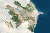 Azerbaijan, True Colour Satellite Image with Border and Mask Photographic Print