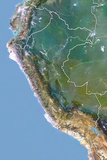 Peru, Satellite Image with Bump Effect, with Border Photographic Print