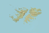 Falkland Islands, Relief Map Photographic Print