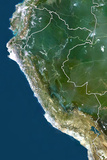 Peru, True Colour Satellite Image with Border Photographic Print