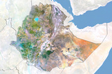 Ethiopia, Satellite Image with Bump Effect, with Border and Mask Photographic Print