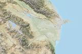 Azerbaijan, Relief Map with Border Photographic Print